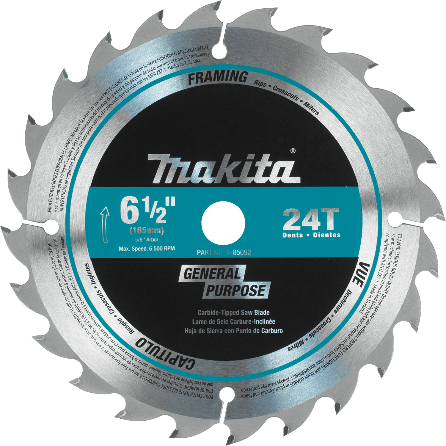 Makita usa product details a 85092 circular saw blade general purpose a 85092 greentooth Images