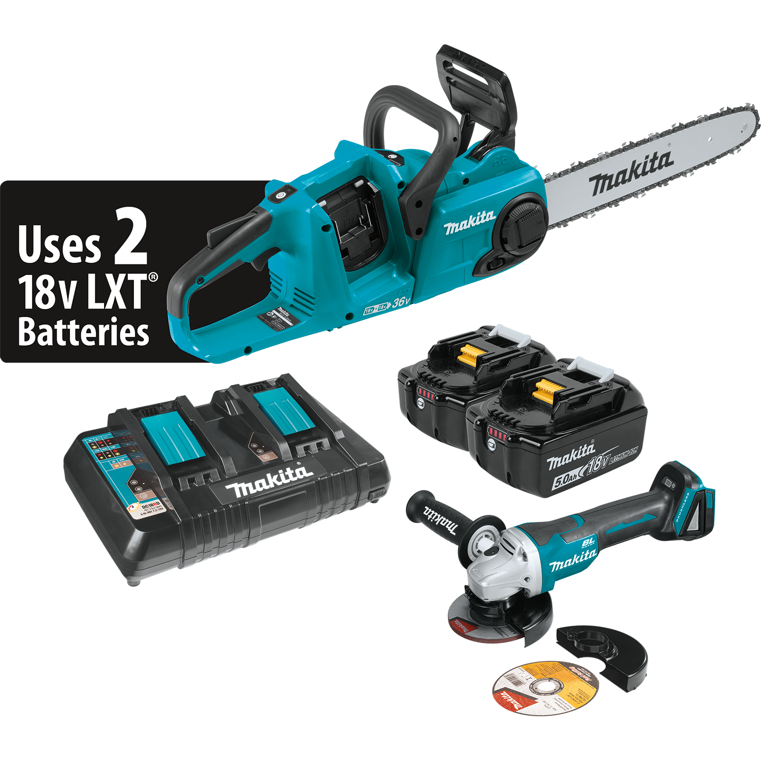 Makita usa product details xcu03pt xcu03ptx1 18v x2 36v lxt brushless 14 chain saw kit and grinder greentooth