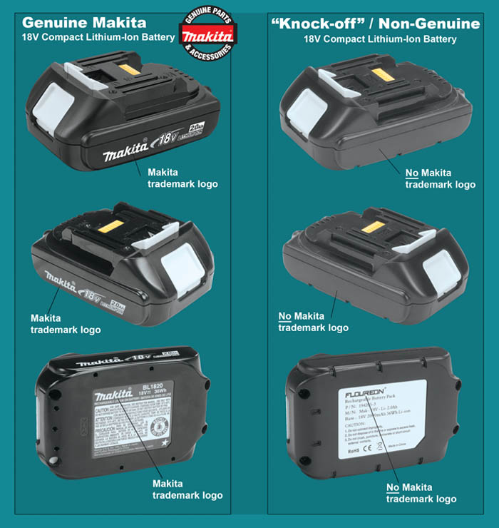 Genuine Makita 2.0Ah Battery & Knock-Offs