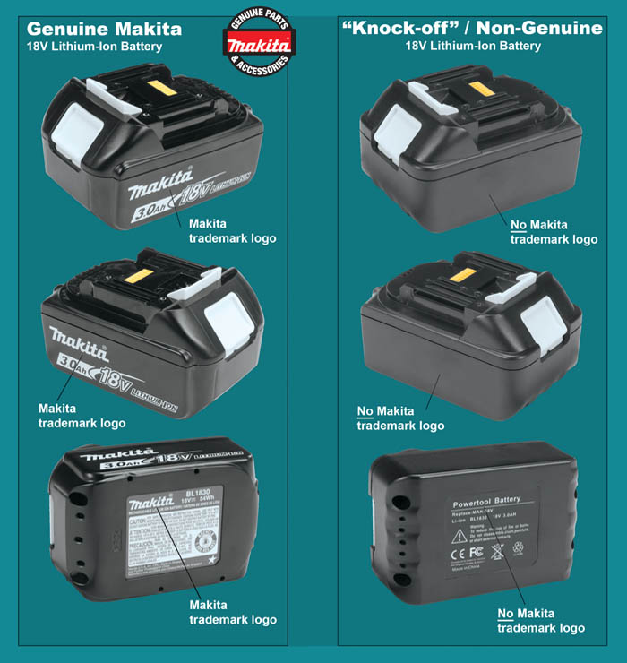 Genuine Makita 3.0Ah Battery & Knock-Offs