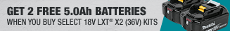 Buy A Qualifying X2 Kit, get 2 Additional 5.0Ah Batteries Free